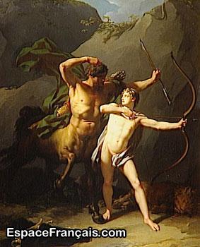L'éducation d'Achille par le centaure Chiron (1782) par Jean-Baptiste Regnault (1754-1829), peinture à l'huile, Musée du Louvre (département des Peintures).