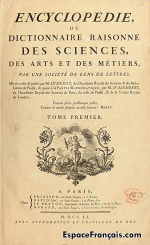 Encyclopédie ou Dictionnaire raisonné des sciences, des arts et des métiers. Page de titre du premier tome, 1751