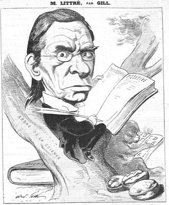 Caricature d'Émile Maximilien Paul Littré (1801-1881).