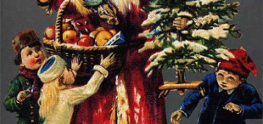 Le Père Noël distribue des cadeaux aux enfants. Ancienne carte postale (vers 1950).