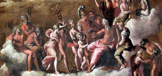 Psyché, accompagnée d'Hermès, reçue par tous les dieux de l'Olympe. Un tableau de Carravagio - Musée du Louvre.