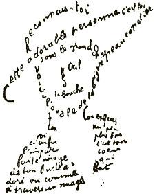 Un calligramme de Guillaume Apollinaire