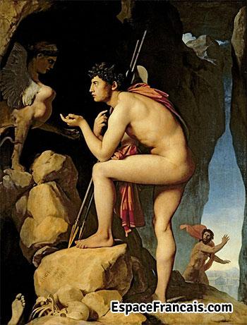 Œdipe explique l'énigme du sphinx, d'Ingres, 1827. Paris, Musée du Louvre.